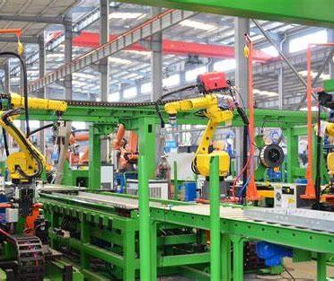 Robot welding production line